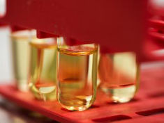 Photo: Vials of yellow cinnamon oil