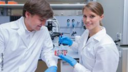 Image: Man and woman in the lab presenting a multi-organ chip; Copyright: TissUse GmbH