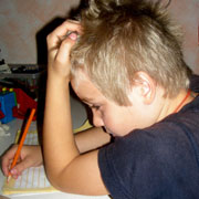 Picture: A child doing his homework