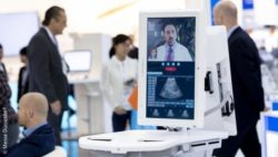 Picture: telemedical system at the MEDICA; Copyright: Messe Düsseldorf