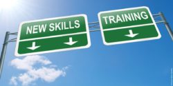 "Grafic: Signs reading ""New skills"" and ""training"""