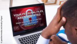 Image: View of laptop screen with message that data was encrypted; Copyright: panthermedia.net/Andriy Popov