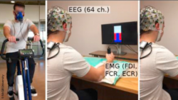 Image: left: test person with a kind of breathing mask on a training device, right: test person with electrode cap at the computer; Copyright: McGill University