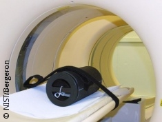 Photo: A calibration phantom in a PET scanner