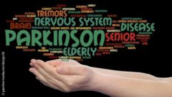 Image: hand holding words that have to do with Parkinson's disease; Copyright: panthermedia.net/design36