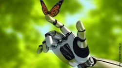 Image: robotic hand touches a butterfly; Copyright: PantherMedia / Iurii