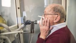 Image: elderly man during a spirometry; Copyright: ATS