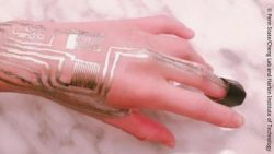 Image: hand with sensors printed on it; Copyright: Ling Zhang, Penn State/Cheng Lab and Harbin Institute of Technology