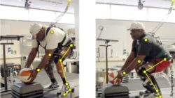 Image: man performing squatting activity with different prosthetic devices; Copyright: Aaron Fleming