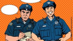 Image: comic illustration of a smiling police man and an angry looking police man; Copyright: panthermedia.net/studiostoks