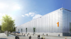 Exterior view Hall 1, Copyright: Messe Düsseldorf, Neue Messe Süd © sop architekten, Visualisierung: CADMAN