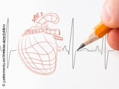 Photo: Drawing of a heart, pencil and hand