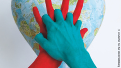 Image: Background: World map in form of a heart, foreground: Two hands anchored in each other, one is blue and the other red; Copyright: German Resuscitation Council