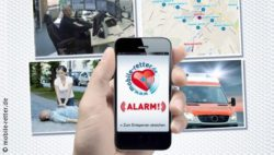 Image: Hand holds a smartphone, four pictures in the background with rescue situations; Copyright: mobile-retter.de