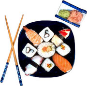 Picture: A plate with sushi