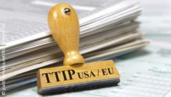 Photo: Stamp with the TTIP-Logo