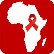 Photo: Map of Africa with AIDS ribbon