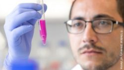 Image: scientist holding up a test tube containing a pink liquid; Copyright: Medical University of Vienna
