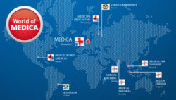 Image: World map with locations of the medical fairs in the World of MEDICA