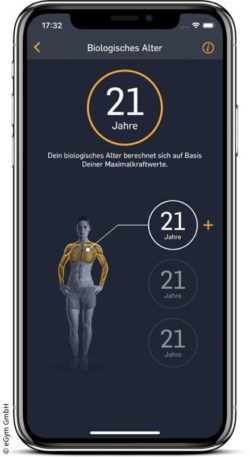 "Image: Smartphone display with eGym app and the ""biological age"" function; Copyright: eGym GmbH"