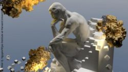 Image: Rodins The Thinker with yellow-brownish structures around it; Copyright: