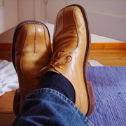 Photo: A pair of elegant brown leather shoes
