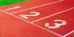 Photo: Tracks at a running field that are marked with 1, 2 and 3
