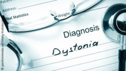 "Image: A paper, written on it ""Diagnosis Dystonia"". Next to it lies a stethoscope; Copyright: panthermedia.net/Vitaliy Vodolazskyy"