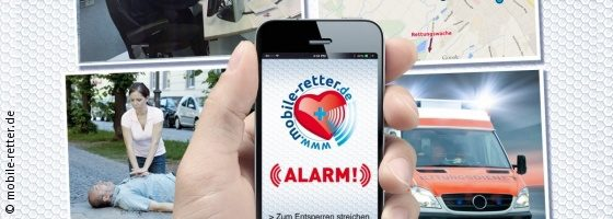 Graphic: Hand holds a smartphone, four pictures in the background with rescue situation; Copyright: mobile-retter.de