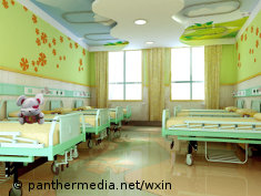 Photo: A colorfully painted hospital room for children