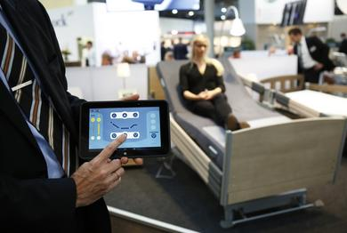 Care beds with Smart Care Control™ from Hermann Bock GmbH may also be controlled by Tablet-App – wireless and including graphic user interface.