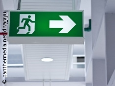 Photo: An emergency exit sign