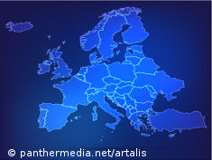Graphic: Map of Europe in shades of blue
