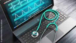 Image: Laptop with an ECG on its screen; Copyright: panthermedia.net/scanrail