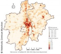 Image: Image shows map of modelled PM 2.5 concentration in the Augsburg area; Copyright: Helmholtz Zentrum München