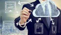 Image: A business man draws different devices next to a cloud; Copyright: panthermedia.net/Melpomene