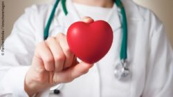 Image: doctor holding an artificial red spongy heart; Copyright: PantherMedia / Vonschonertagen