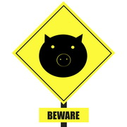 "Photo: Sign showing a pig, saying ""Beware!"""