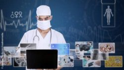 Image: Doctor with a laptop, around him various medical images, behind him an ECG; Copyright: panthermedia.net/realinemedia
