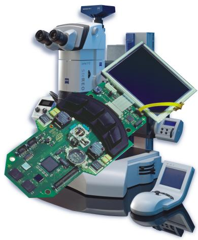 Custom specific device electronics for a microscope