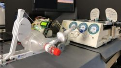 Image: A ventilation bag that is connected to a machine with different meters; Copyright: University of California San Diego