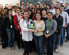 The miniFAB team with the award trophy.