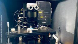 Image: A large microscope on a laboratory table; Copyright: Georgetown University Medical Center