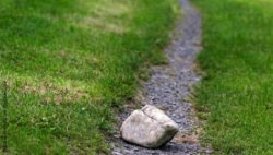 Image: A large stone is blocking a path that leads through a green meadow; Copyright: panthermedia.net/Brigitte Götz