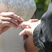 Picture: A couple exchanging rings
