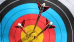 Photo: Three arrows sticking in a target