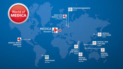 Image: World map with locations of the medical fairs in the World of MEDICA; Copyright: Messe Düsseldorf
