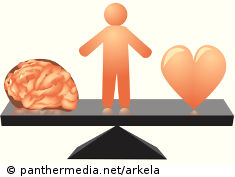 Graphic: Iconic man on a seesaw between heart and brain