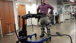 Image: Professor Sharma wearing a lower-limb exoskeleton in his neuromuscular control and robotics laboratory; Copyright: Sharma Lab/University of Pittsburgh