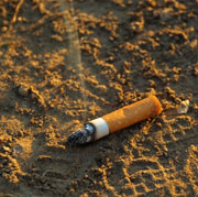 Picture: A smoking cigarette in the sand